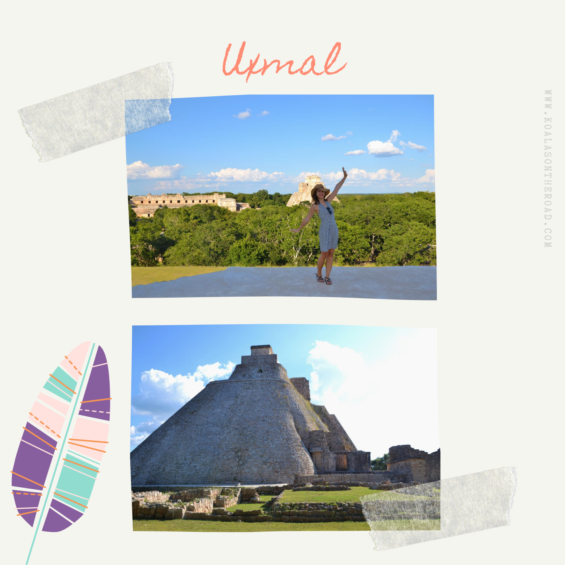 The best places to visit in Yucatan - koalas on the road - Uxmal